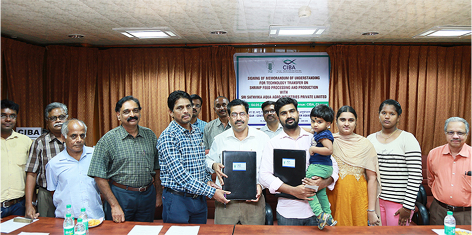 CIBA's Desi Shrimp Feed Technology Transfer with Sri Sathvika Aqua Agro Industries Private Limited, Ongole, for the shrimp feed mill and Vannami Plus technology, an ARYA initiatives from CIBA