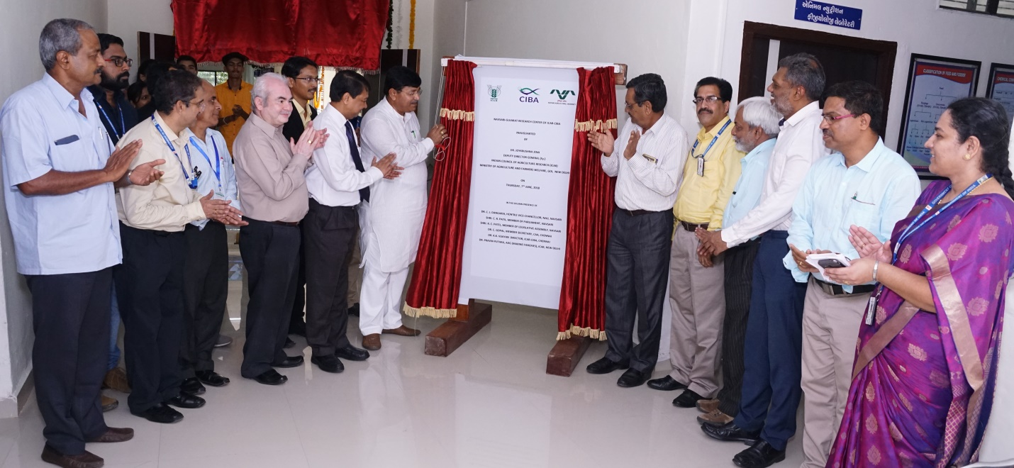 ICAR-CIBA inaugurated its first Aquaculture Research Centre on the West Coast in Gujarat at the Navsari Agriculture University Campus on 7th June 2018
