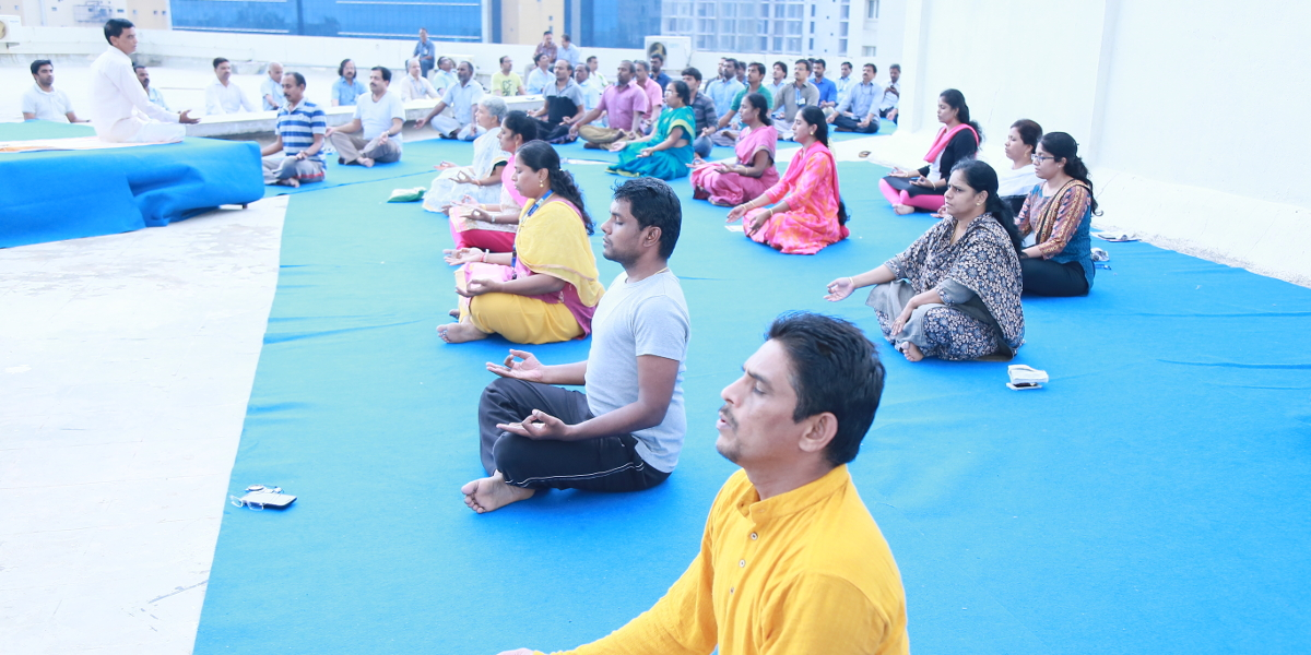 Yoga practice during the 3rd International Yoga Day celebrations at CIBA, Chennai